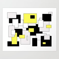 Squares - yellow, black and white. Art Print