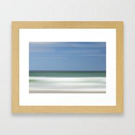 GREEN SEAS BLUE SKIES WHITE WAVES AND GOLDEN SAND Framed Art Print