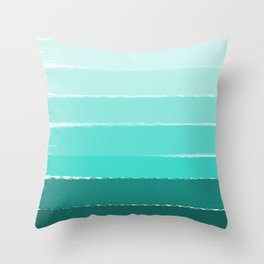 Ombre brushstrokes modern minimal ocean abstract painting wall art Throw Pillow