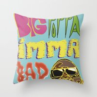 biggie smalls Throw Pillows featuring Biggie Smalls  by madebypinda