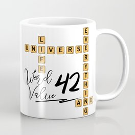 Life Universe and Everything Scrabble 42 Coffee Mug
