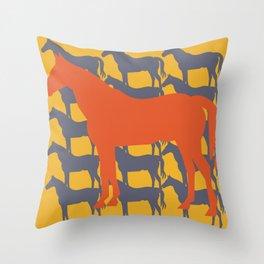 Orange Graphic Horse on Yellow by Ron Brick Throw Pillow