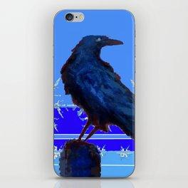 BLUE CROW WINTER SNOWFLAKE ART iPhone Skin