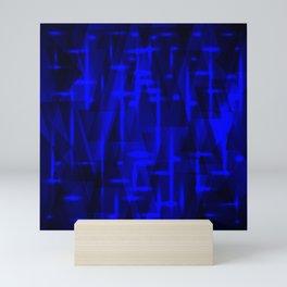 Bright dark blue highlights on marine triangles and metal stripes. Mini Art Print