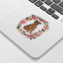 brussels griffon dog floral wreath dog gifts pet portraits Sticker