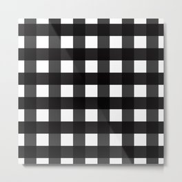 Contemporary Black & White Gingham Pattern Metal Print