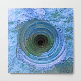 Mysterious Hole in Mountainside: Bright Blue Version Metal Print
