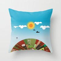 farm Throw Pillows featuring Farm by Design4u Studio