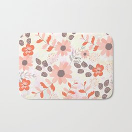 Pretty Pink and Orange Flowers Bath Mat