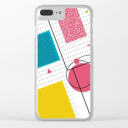 San Antonio 1989 - Memphis Throwback Retro 1980s 80s Trendy Hipster Pattern Eighties Shapes Clear iPhone Case