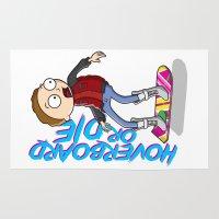 die hard Area & Throw Rugs featuring Hoverboard or die by KickPunch