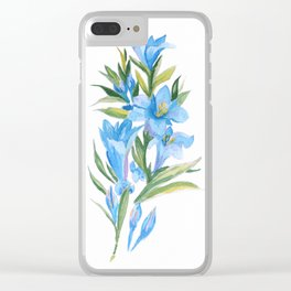 Blue flowers Clear iPhone Case