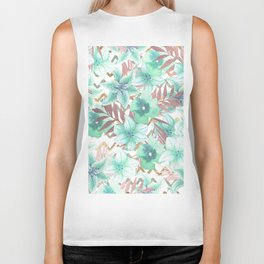 Modern faux rose gold tropical plant turquoise floral Biker Tank