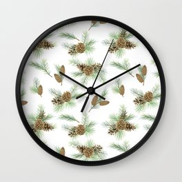 pine branches and cones pattern Wall Clock