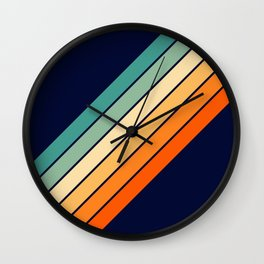 Farida - 70s Vintage Style Retro Stripes Wall Clock