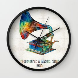Colorful Phonograph Art by Sharon Cummings Wall Clock