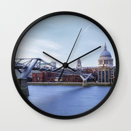 Millennium Bridge to the St Paul's Cathedral, London, UK Wall Clock