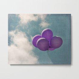 Vintage Inspired Purple Balloons In Blue Sky Metal Print