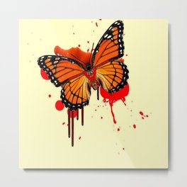 BLOODY BLEEDING ORANGE MONARCH BUTTERFLY Metal Print