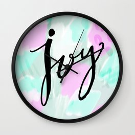 Abstract Joy - purple and mint hand lettering Wall Clock
