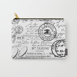 Vintage handwriting black and white Carry-All Pouch