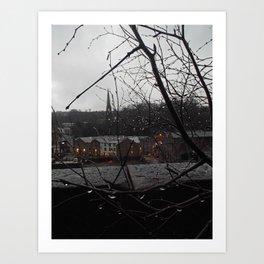 Raindrops illuminated by the sleepy town Art Print