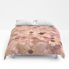 Quatrefoil Moroccan Pattern Pastel Onyx Marble Comforters
