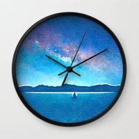 northern lights Wall Clocks featuring Northern Lights by Acacia Alaska
