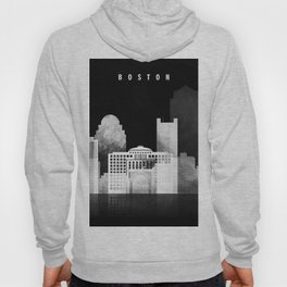 Boston - Black and White Skyline арт work Hoody