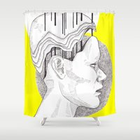 yellow pattern Shower Curtains featuring Yellow by Raxa Russian Roulette