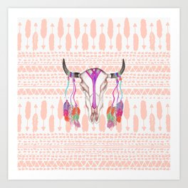 Watercolor Bull Skull Feathers and Arrow Aztec Art Print