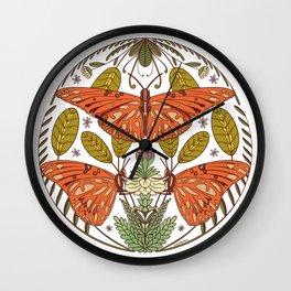 Butterfly Botanical Illustration - Orange Green Wall Clock