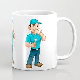 Handyman worker with key in the hand Coffee Mug