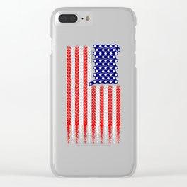 Bike USA Flag Clear iPhone Case