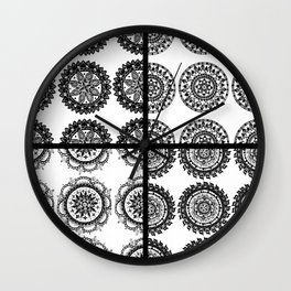 Black and White Patch-Work Mandala Textile Wall Clock