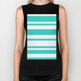 Mixed Horizontal Stripes - White and Turquoise Biker Tank