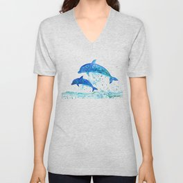 Dolphins, Blue dolphins, watercolor Unisex V-Neck