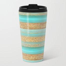 Turquoise Brown Faux Gold Glitter Stripes Pattern Metal Travel Mug