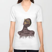glitter V-neck T-shirts featuring Glitter by MessyDesk