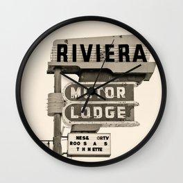 Vintage Neon Sign - Riviera Motor Lodge - Tucson Wall Clock