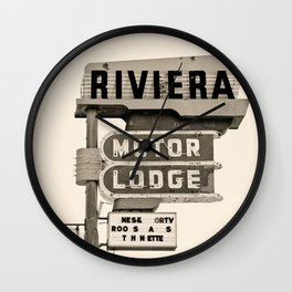 Vintage Neon Sign - Riviera Motor Lodge - Tucson Wall Clock