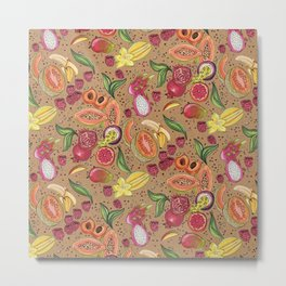 Ready to Eat - Fruit Pattern in Brown Metal Print