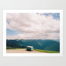 Bus on Hurricane Ridge  Art Print