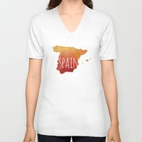 spain V-neck T-shirts featuring Spain by Stephanie Wittenburg