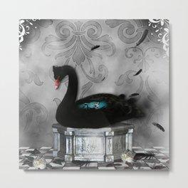 Wonderful black swan with dark mermaid Metal Print