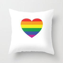 Gay Pride LGVT Rainbow Heart Throw Pillow