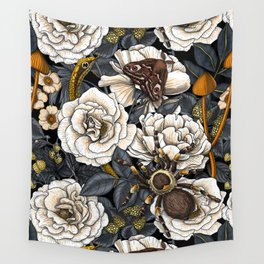 Dream garden white, yellow and gray Wall Tapestry