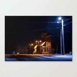 Americana Rocheport Missouri Small Town At Night in Teal and Orange Canvas Print