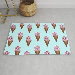 Cute Watercolor Piggy Ice Cream Pink Teal Pattern Rug
