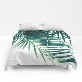 Palm Leaves Green Vibes #4 #tropical #decor #art #society6 Comforters